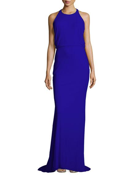 Badgley Mischka Split-Back Gown, Cobalt