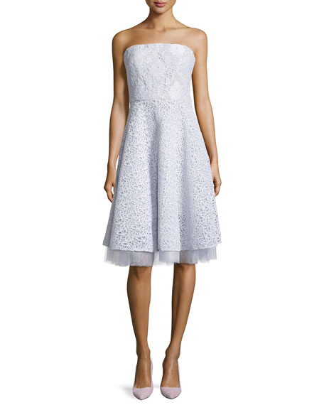Mixed-Lace Strapless Party Dress, Silver