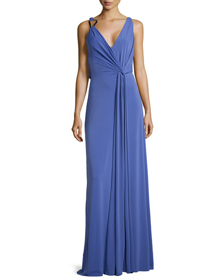 Halston Heritage Sleeveless Cowl-Back Jersey Dress