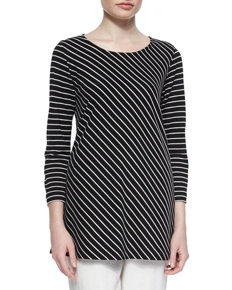Caroline Rose Bias-Striped Knit Tunic, Plus Size