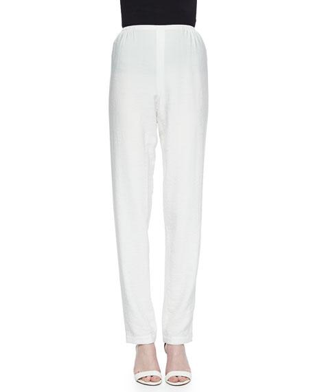 Caroline Rose Cabo Crinkle Straight-Leg Pants, White, Petite