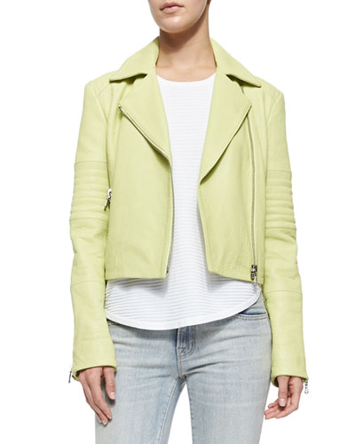 Aiah Zip Leather Jacket, Lime Green
