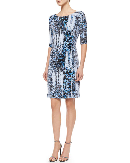 Carmen Marc Valvo 3/4-Sleeve Ikat-Print Jersey Dress