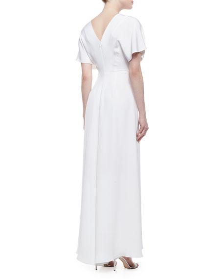 Christian Siriano High-Slit Draped Dolman Gown