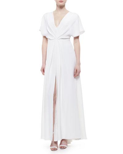 High-Slit Draped Dolman Gown
