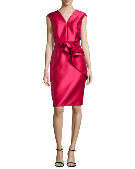 Carmen Marc ValvoRuffled-Waist Cap-Sleeve Cocktail Dress, Lipstick