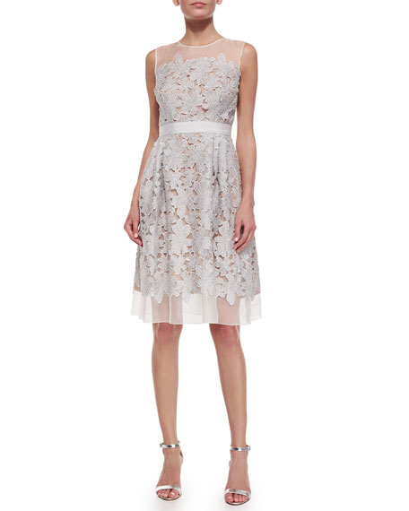 Sleeveless Lace Fit & Flare Cocktail Dress