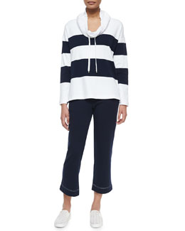 Striped Drawstring-Collar Sweater & Pants Set, Navy/White
