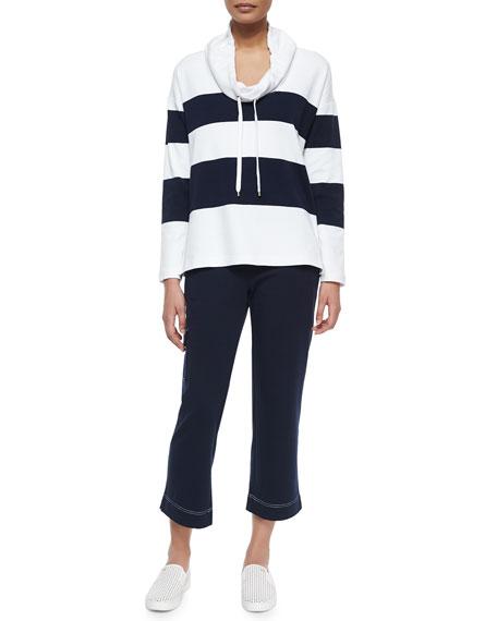 Neiman Marcus Striped Drawstring-Collar Sweater & Pants Set,