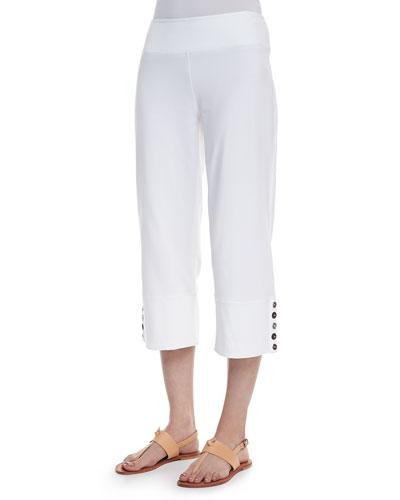 Seascape Button-Cuff Capri Pants, White