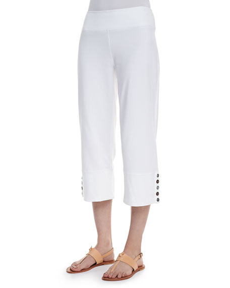 Neon Buddha Seascape Button-Cuff Capri Pants, White