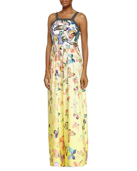 Ranna Gill Sleeveless Butterfly Maxi Dress- Canary