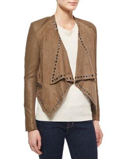 Grommet-Detail Draped Leather Jacket