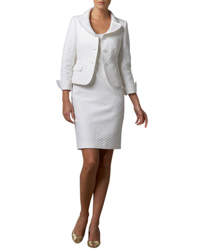 Diamond-Textured Jacket & Dress Set