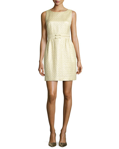 Jacquard Sheath Dress, Gold