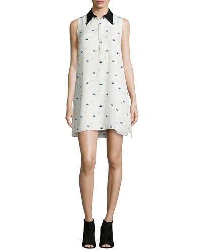 Reese Lips-Print Silk Dress
