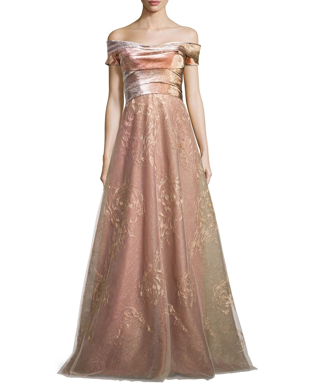 Rene Ruiz Off-the-Shoulder Pleated Bodice Gown | Neiman Marcus