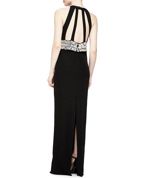 Saldana Sleeveless Beaded-Bodice Gown