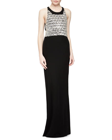 Saldana Sleeveless Beaded-Bodice Gown