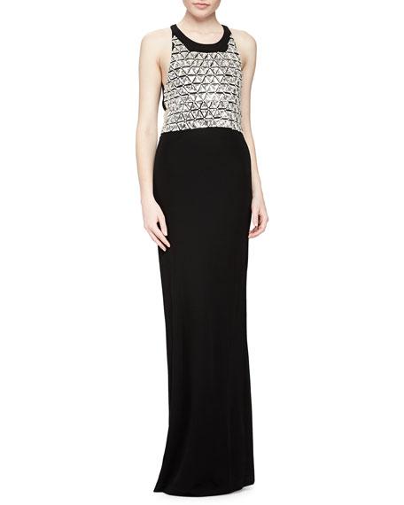 Parker Black Saldana Sleeveless Beaded-Bodice Gown
