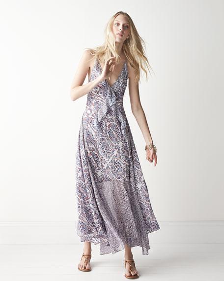 Rebecca Taylor Mixed-Print Sleeveless Midi Dress