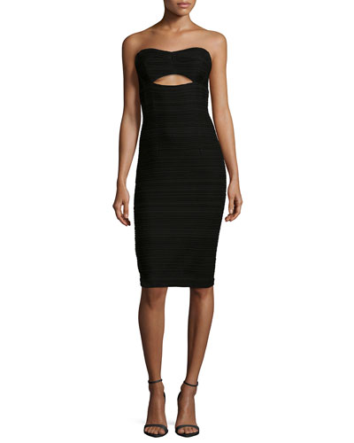 Bombshell Strapless Cutout Cocktail Dress, Black