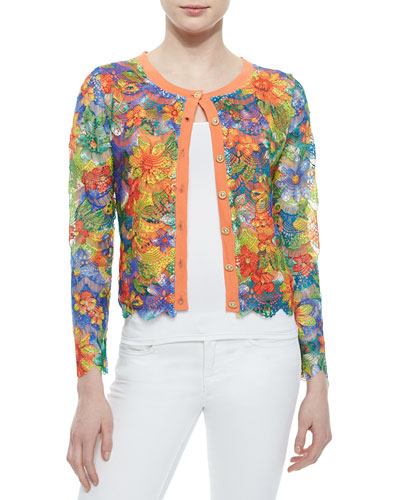 Floral Lace Cropped Cardigan