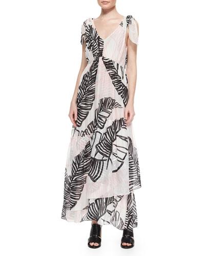 Printed Tie-Shoulder Maxi Dress