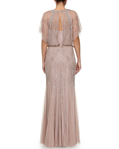 Beaded Butterfly-Sleeve Chiffon Gown, Rose Gold