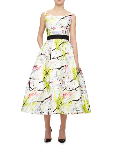 Sleeveless Scribble-Print Tea Dress, White, Multicolor