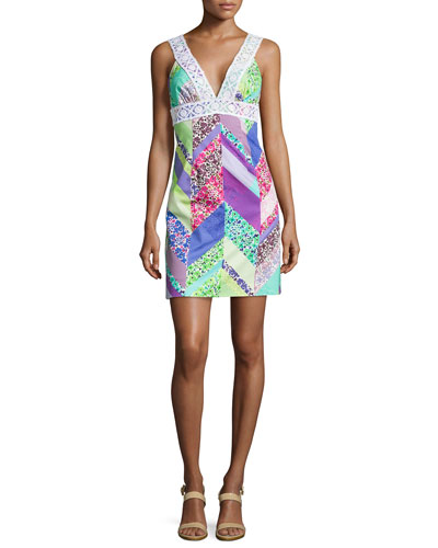 Secret Sleeveless Mixed-Print Dress