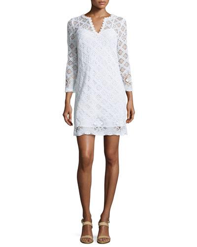 Clair V-Neck Crochet Cotton Dress
