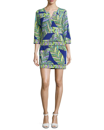 Retro-Print 3/4-Sleeve Tunic Dress