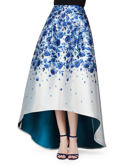 Floral-Print High-Low Ball Skirt