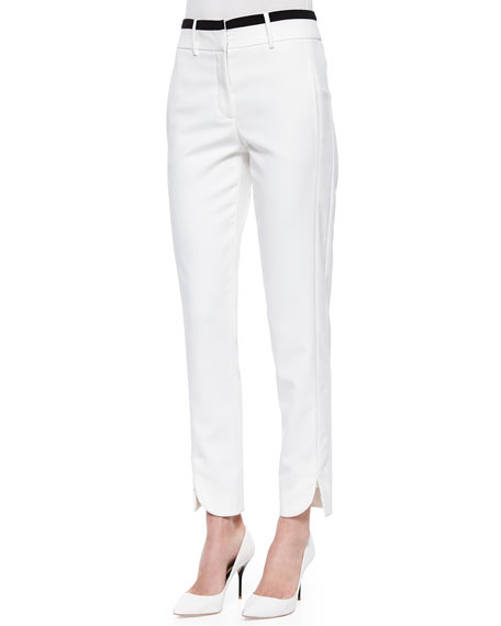 Halston Heritage Slim Striped-Waist Cotton Pants