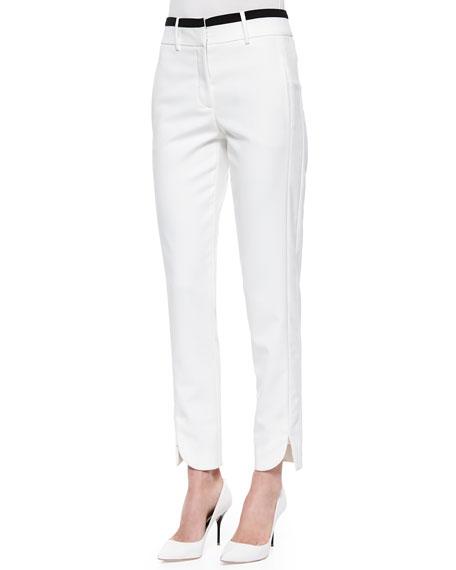 Halston Heritage Slim Striped-Waist Cotton Pants