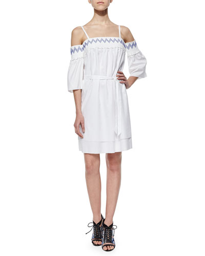 Cleo Embroidered Cold-Shoulder Dress
