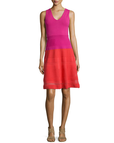 Sleeveless Colorblock Rib-Stitched Dress, Red/Pink