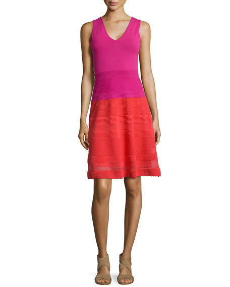 M Missoni Sleeveless Colorblock Rib-Stitched Dress, Red/Pink