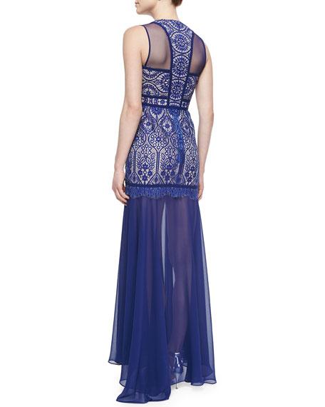 Sleeveless Beaded Mermaid Gown, Oriental Blue