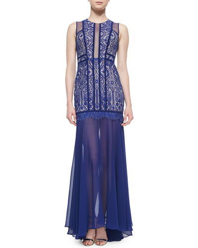 Sleeveless Beaded Mermaid Gown, Oriental Blue
