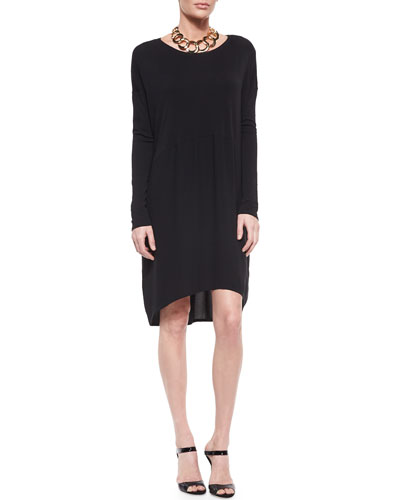Long-Sleeve Mixed-Fabric Knee-Length Dress, Petite