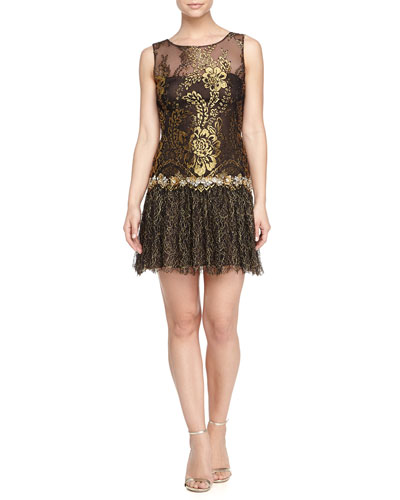 Drop-Waist Cocktail Dress, Black/Gold