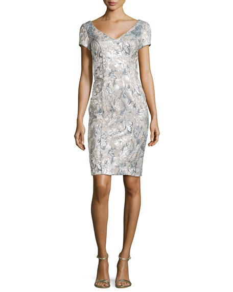TheiaFloral-Jacquard V-Neck Sheath Dress, Silver/Taupe