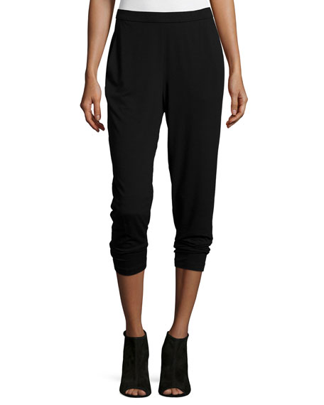 Eileen Fisher Slim Slouchy Ankle Pants, Black, Plus