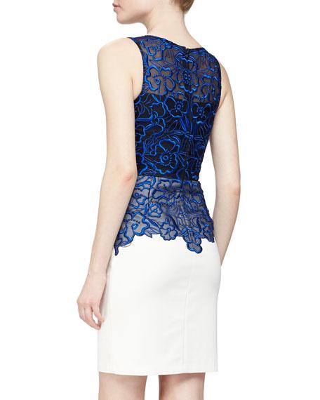 Sleeveless Floral Organza Cocktail Dress, Cobalt