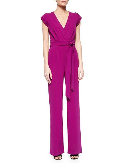 Diane von Furstenberg Purdy Tie-Waist Crepe Jumpsuit, Summer Beet