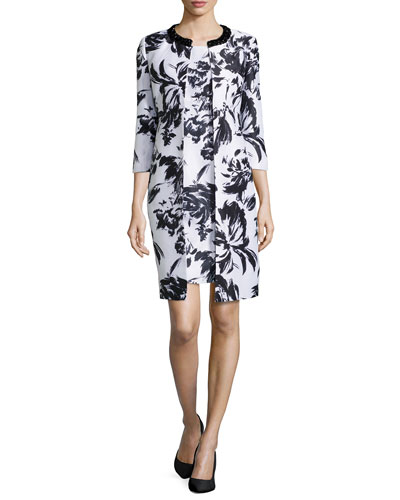 Abstract Floral-Print Jacket & Dress, Black/White