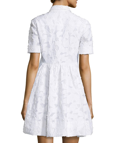 Tobin Short-Sleeve Lace Dress, White