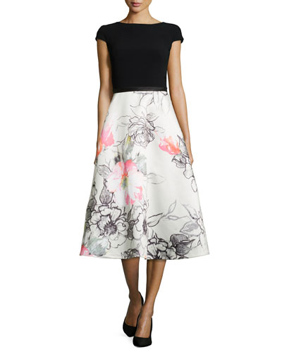Bateau-Neck Combo Dress w/ Floral Skirt, Black/White/Guava